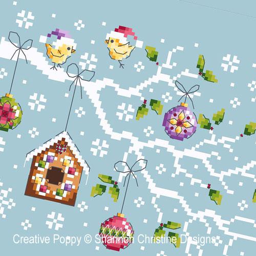 Branche de Noël, grille de broderie, création Shannon Wasilieff