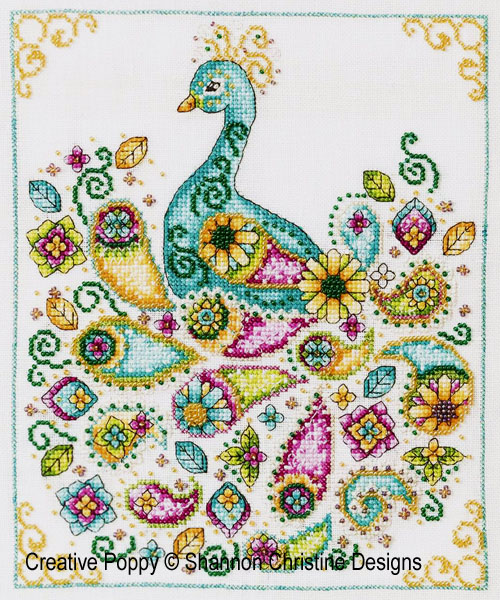 Paon motif cachemire (Paisley Peacock), grille de broderie, création Shannon Christine Wasilieff