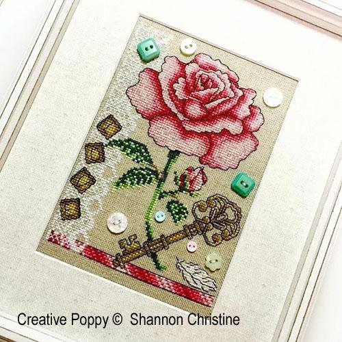 Rose, clé et souvenirs, grille de broderie, création Shannon Christine