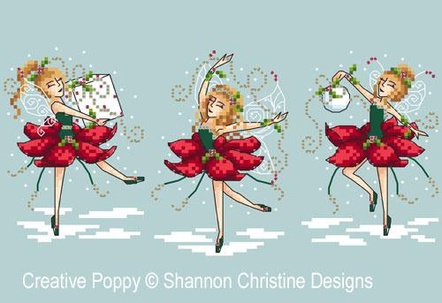 Les 3 fées de Noël, grille de broderie, création Shannon Wasilieff
