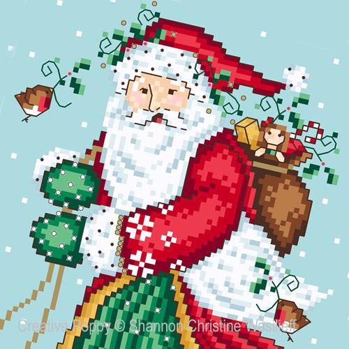 Le Père Noël joyeux, grille de broderie, création Shannon Christine Wasilieff