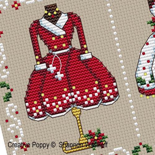 Les tenues de fête de Madame Noël, grille de broderie, création Shannon Christine Wasilieff