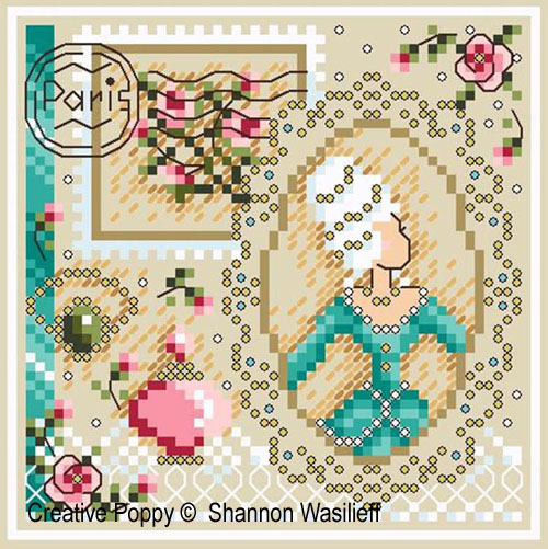 Romance, grille de broderie, création Shannon Christine Wasilieff