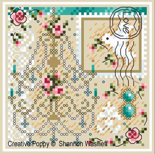Romance broderie point de croix, création Shannon Christine Wasilieff, zoom2