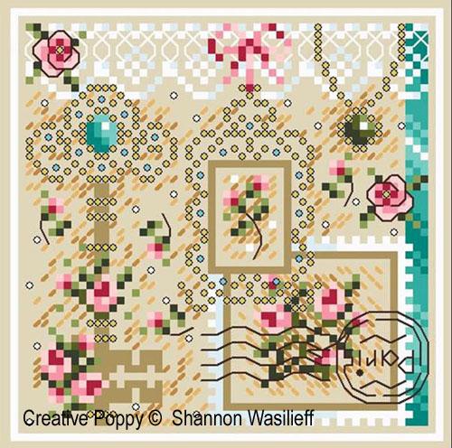 Romance broderie point de croix, création Shannon Christine Wasilieff, zoom1