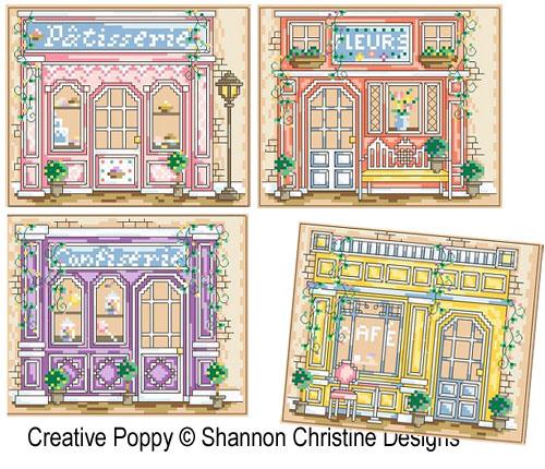Devantures de boutiques, grille de broderie, création Shannon Christine Wasilieff