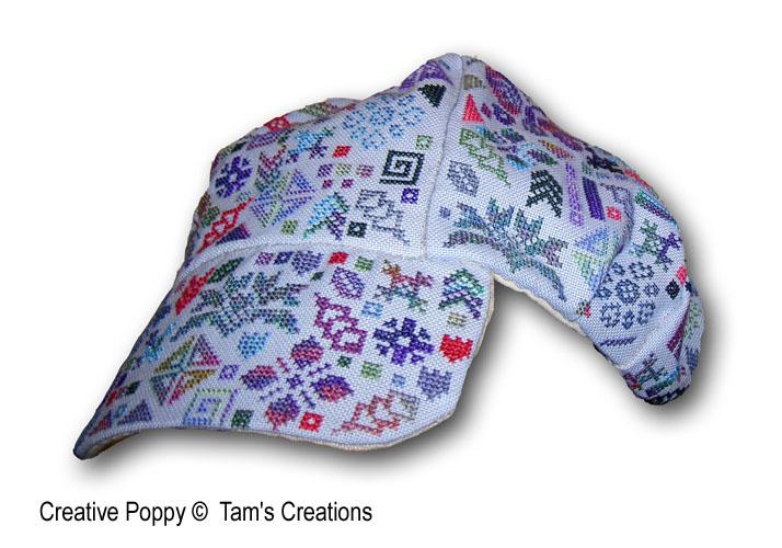 Célaéno, casquette à broder, grille de broderie, création Tam's Creations