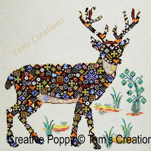 Deer-in-patches, le cerf en patch, grille de broderie, création Tam's Creations