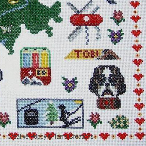 Traditions suisses, broderie point de croix, Tams Creations