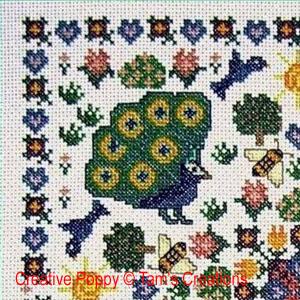 Mandala au paon, broderie point de croix, Tam's Creations (détail)