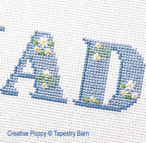 Alphabet Pâquerettes, grille de broderie, création Tapestry Barn