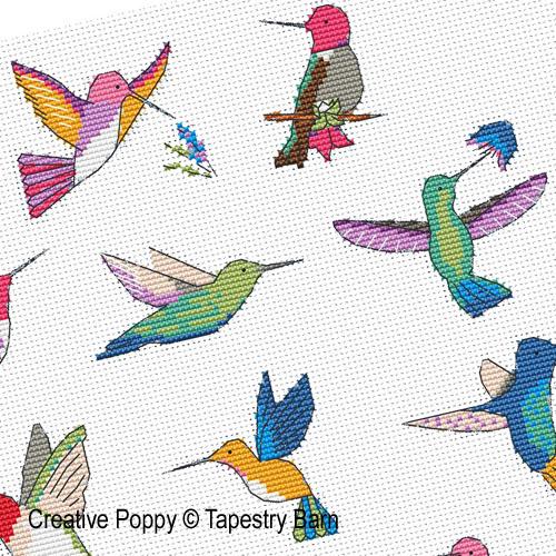 Le ballet des colibris, grille de broderie, création Tapestry Barn