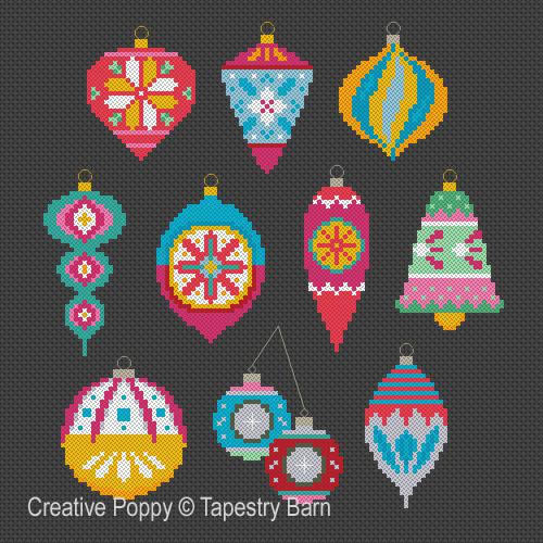 Boules de Noël Rétro, grille de broderie, création Tapestry Barn