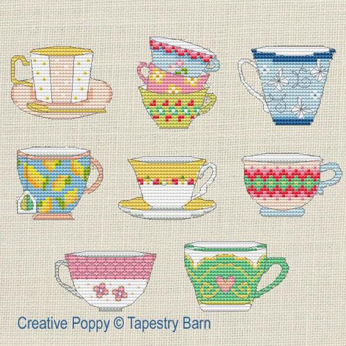L'heure du thé, grille de broderie, création Tapestry Barn