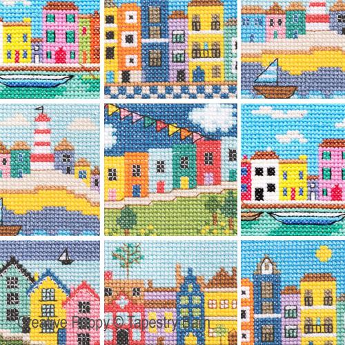 Maisons Arc-en-ciel, grille de broderie, création Tapestry Barn