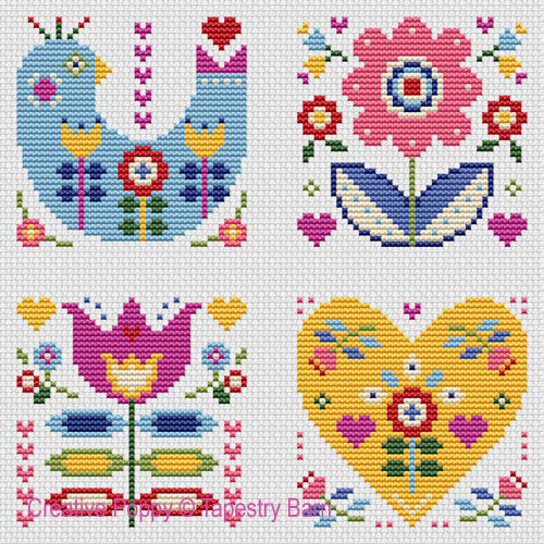Motifs Folk Art, grille de broderie, création Tapestry Barn