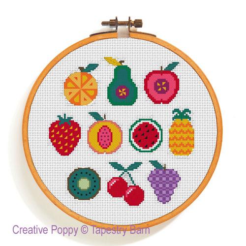 10 motifs de fruits à broder, grille de broderie, création Tapestry Barn