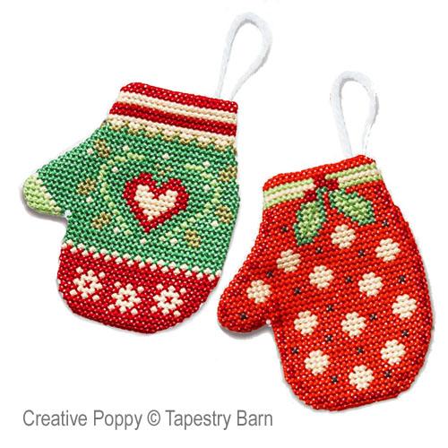 Moufles de Noël (décorations pour le sapin), grille de broderie, création Tapestry Barn