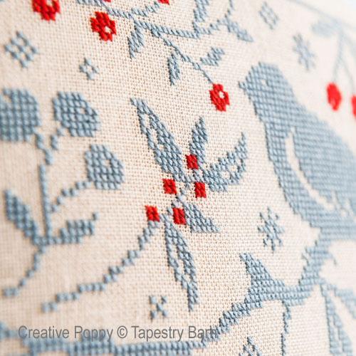 Oiseau et baies rouges, grille de broderie, création Tapestry Barn