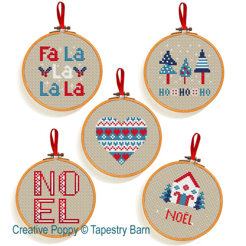 Ornements Noël Scandinave, grille de broderie, création Tapestry Barn
