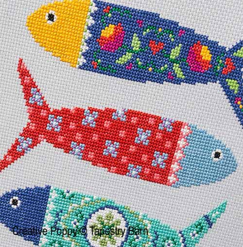 Poissons du Portugal broderie point de croix, création Tapestry Barn, zoom1