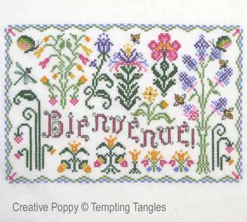 Bienvenue - Jardin, grille de broderie, création Tempting Tangles