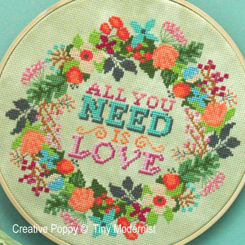 All you need is Love, grille de broderie, création Tiny Modernist