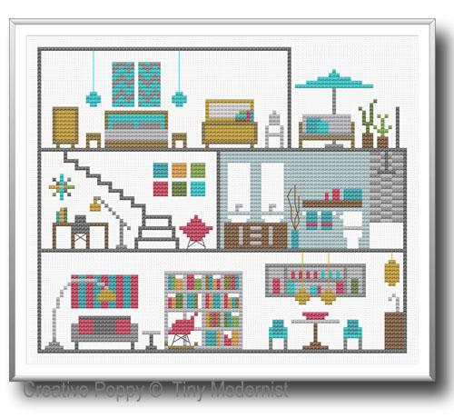 La maison de poupée, grille de broderie, création Tiny Modernist