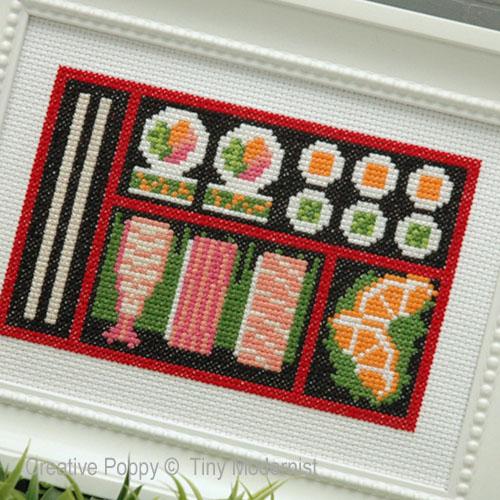 Bento aux Sushis, grille de broderie, création Tiny Modernist