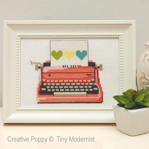 La machine à écrire rose, grille de broderie, création Tiny Modernist