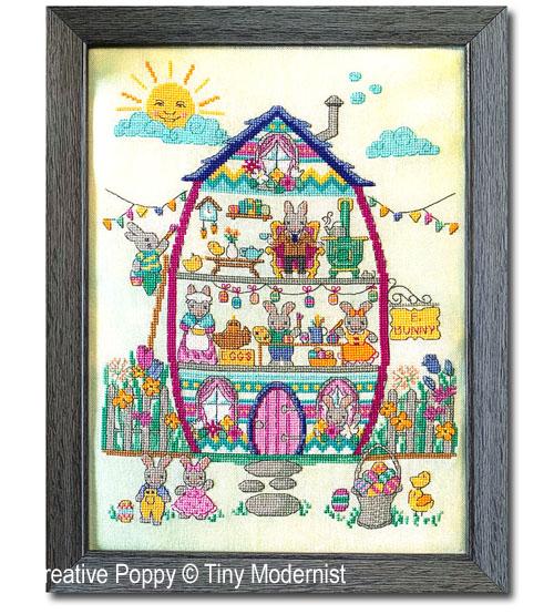 La famille lapin, grille de broderie, création Tiny Modernist