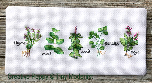 Herbes aromatiques, grille de broderie, création Tiny Modernist