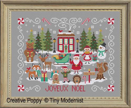 Joyeux Noël à la maison rouge, grille de broderie, création Tiny Modernist