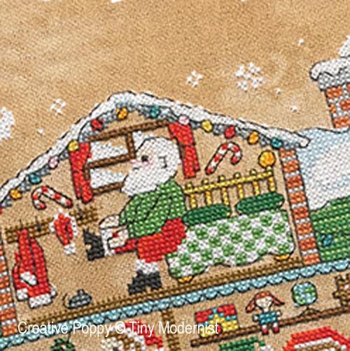 La maison du Père Noël, grille de broderie, création Tiny Modernist