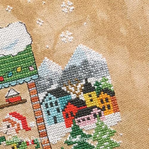 La maison du Père Noël broderie point de croix, création Tiny Modernist, zoom3