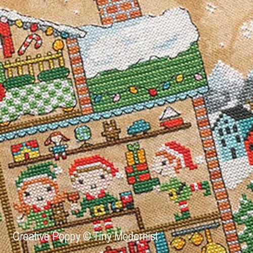 La maison du Père Noël broderie point de croix, création Tiny Modernist, zoom2